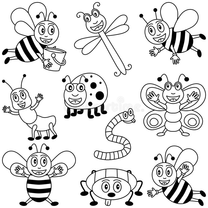 Insectos del colorante para los cabritos ilustración del vector