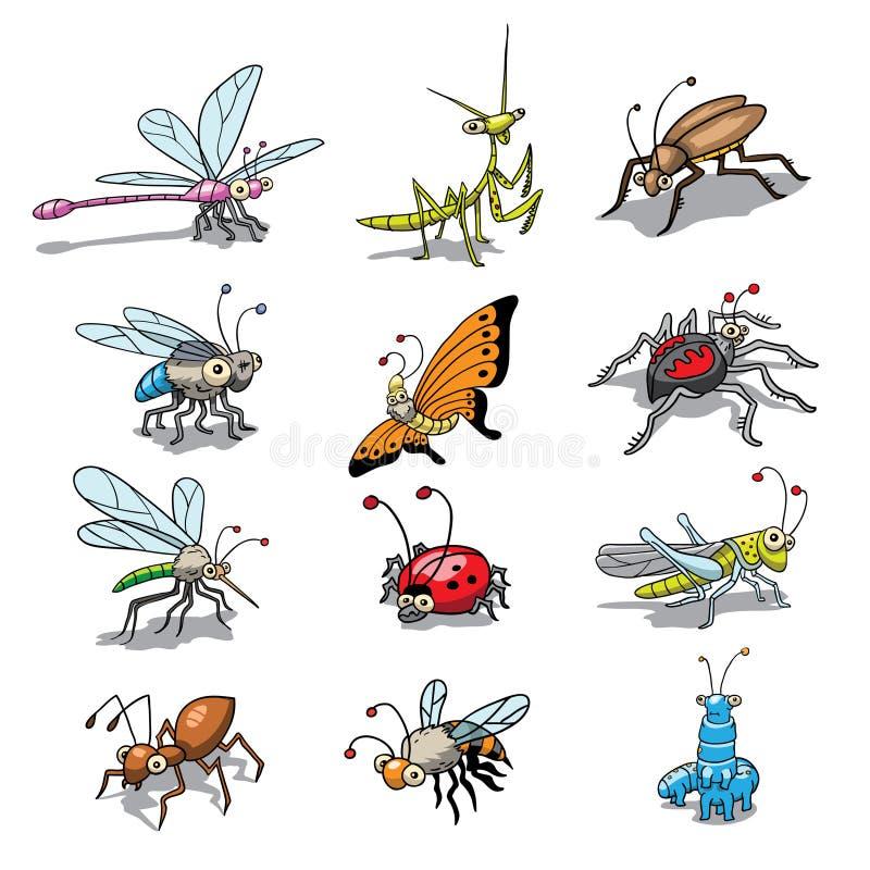 insectos divertidos ilustración del vector