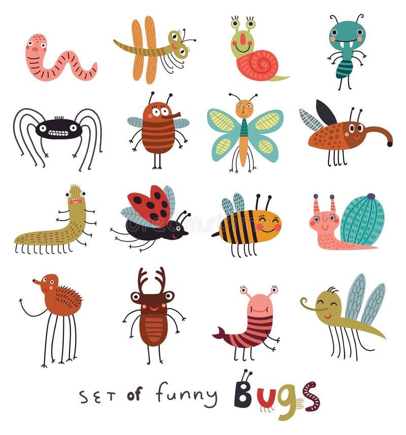 Insectos divertidos y lindos ilustración del vector