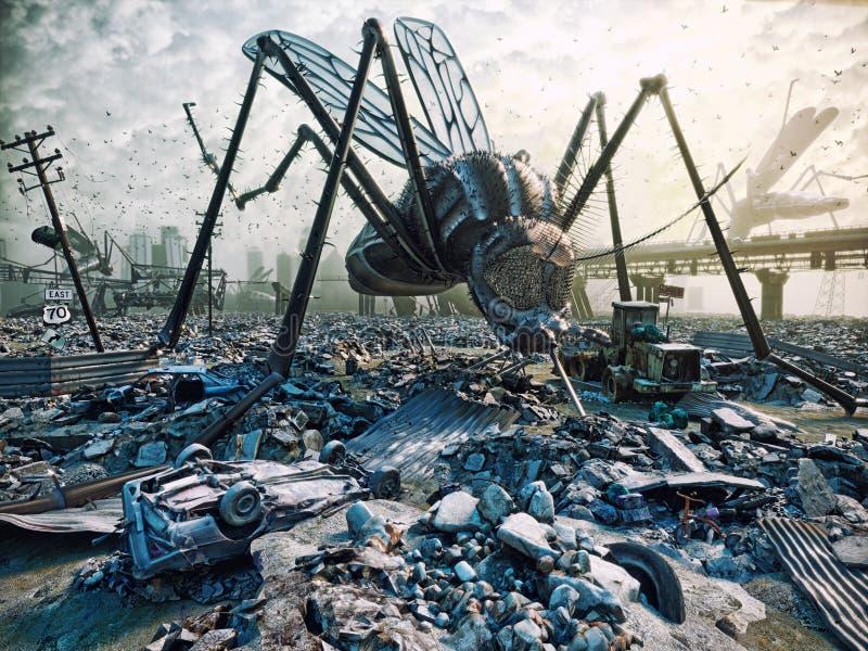Insectos gigantes y la ciudad ilustración del vector
