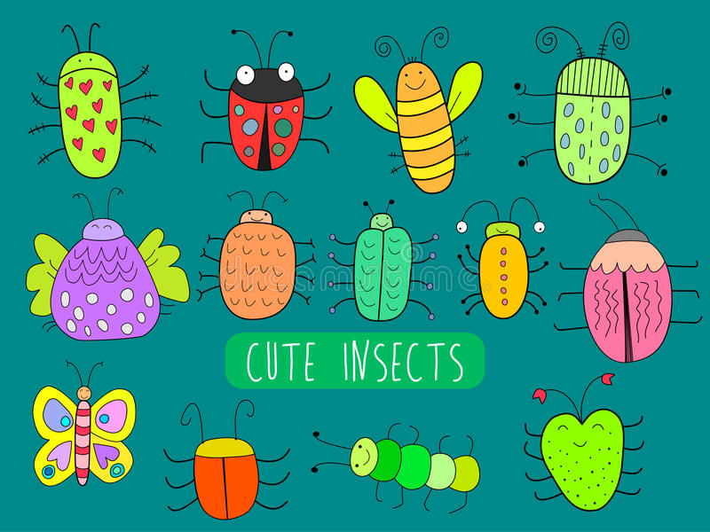 Insectos lindos stock de ilustración
