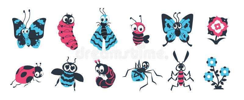 Insectos lindos. Bugs de dibujos animados con cara feliz, mariposa de oruga de araña y otros personajes coloridos para el vector stock de ilustración