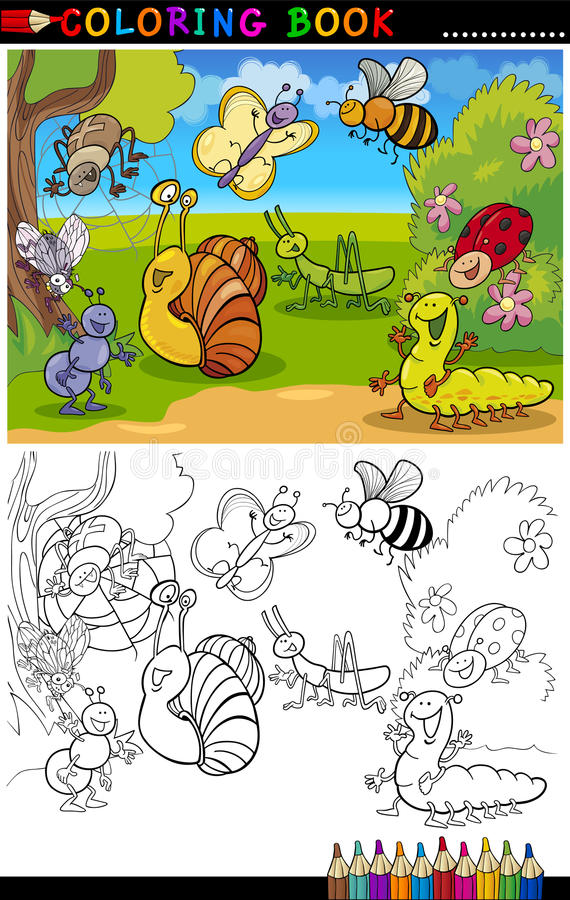 Insectos y fallos de funcionamiento para el libro o la paginación de colorante imagen de archivo