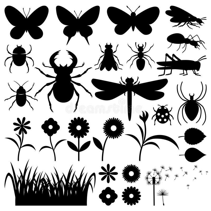 Insectos y flores ilustración del vector