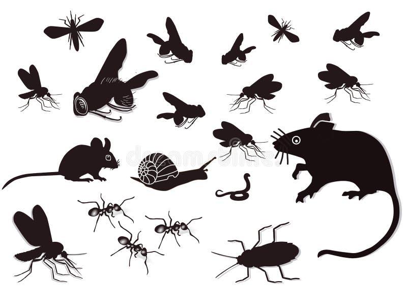 Insectos y roedores stock de ilustración