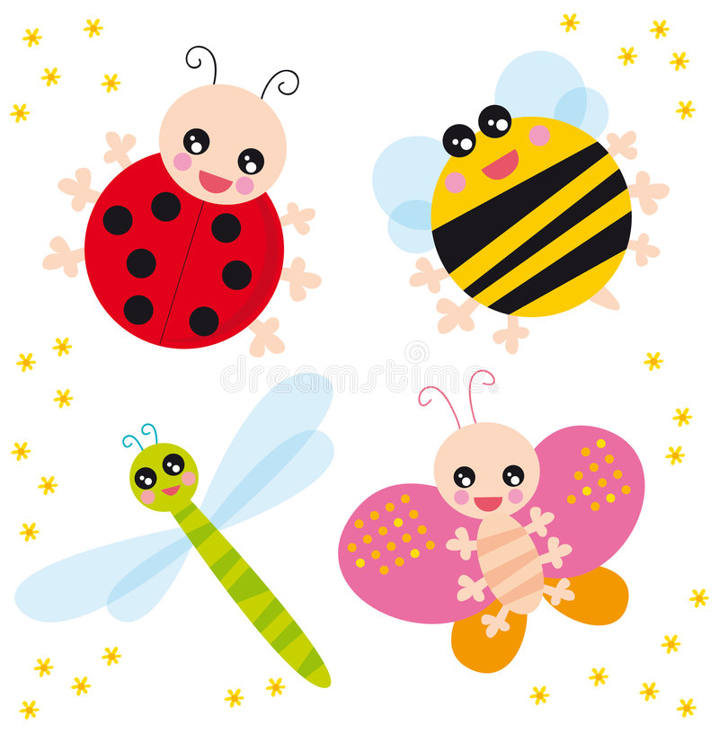 Insects. Illustration of four bugs and little flowers