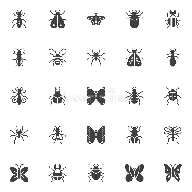 Insects and bugs vector icons set vector illustration