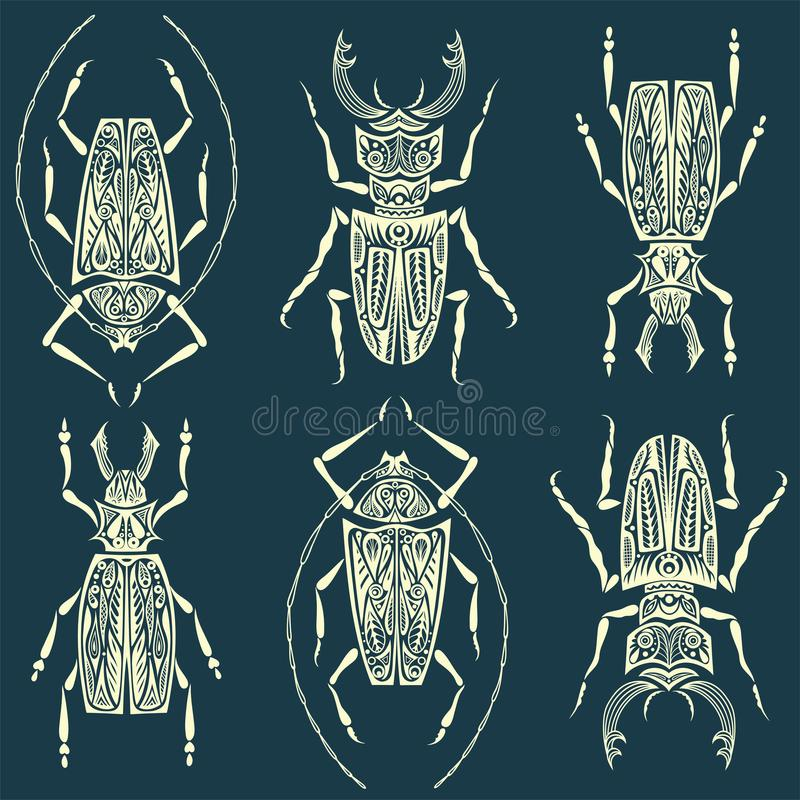 Insects linear pattern seamless texture or background w vector illustration