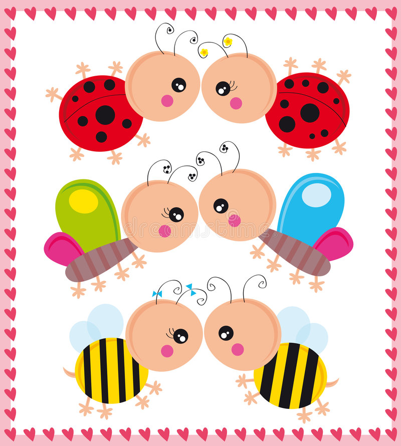 Insects in love stock illustration