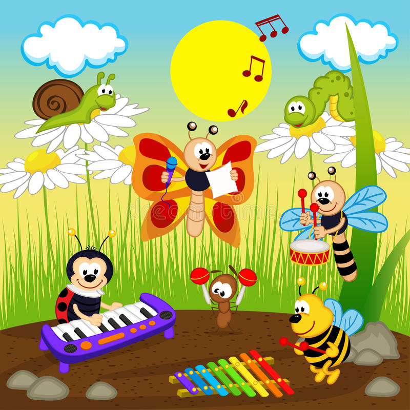 Insects musicians vector illustration