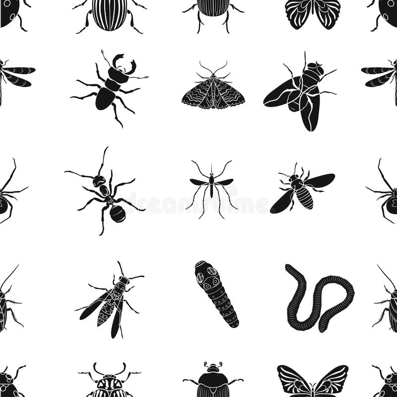 Free Insects Pattern Icons In Black Style. Big Collection Of Insects Vector Symbol Stock Illustration Stock Photo - 83884660