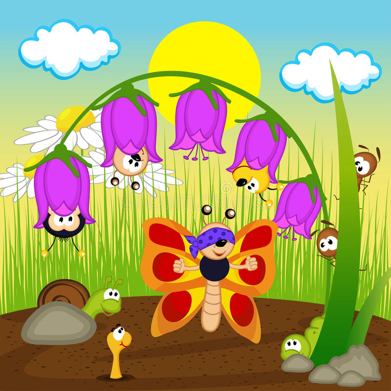 Insects playing hide and seek stock illustration