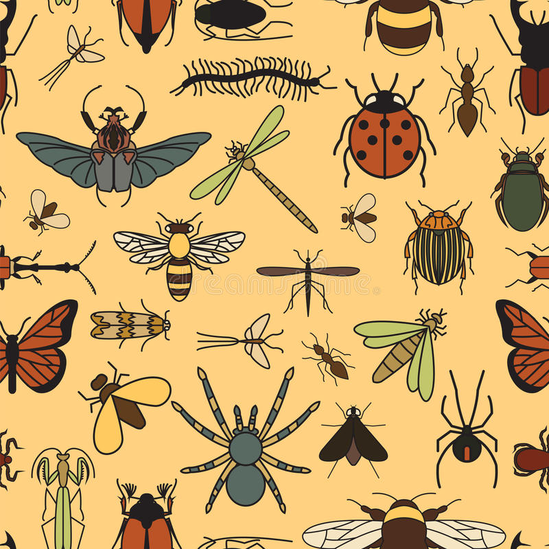 Free Insects Seamless Pattern. 24 Pieces In Set. Stock Images - 70780844