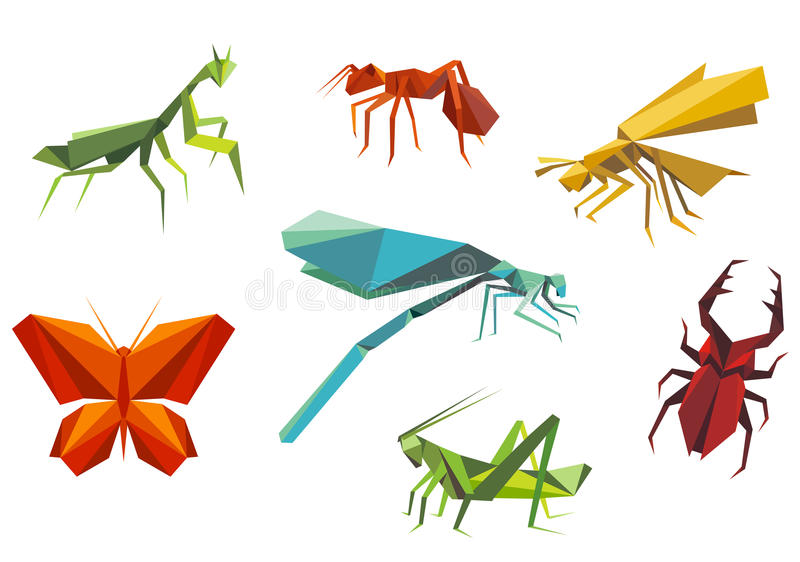 Insects set in origami style. Isolated on white background royalty free illustration