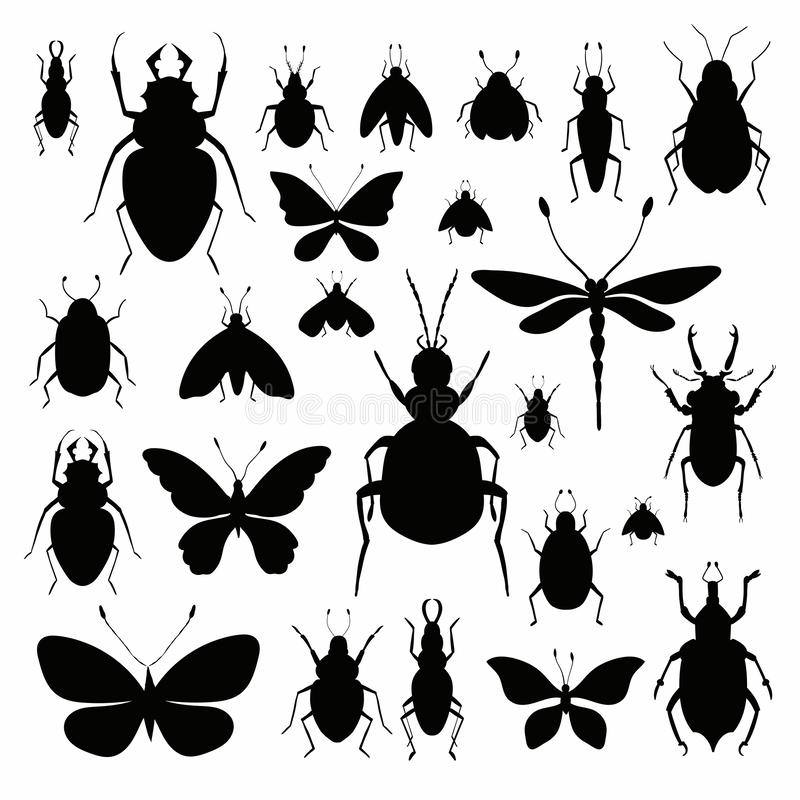 Insects silhouettes collection isolated on white background stock illustration
