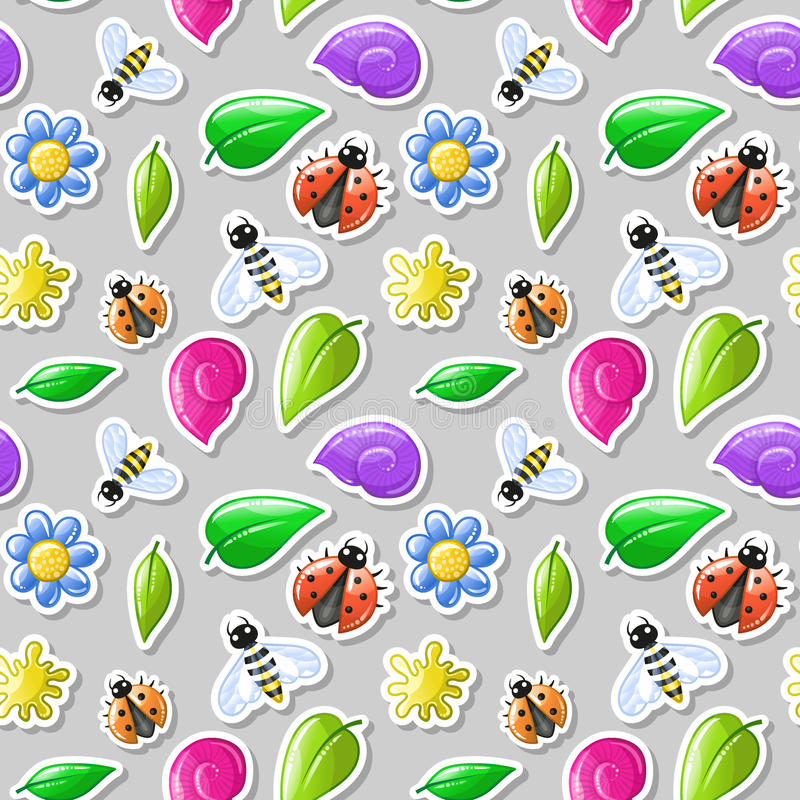 Insects stikers - summer seamless pattern. Nature kids background vector illustration