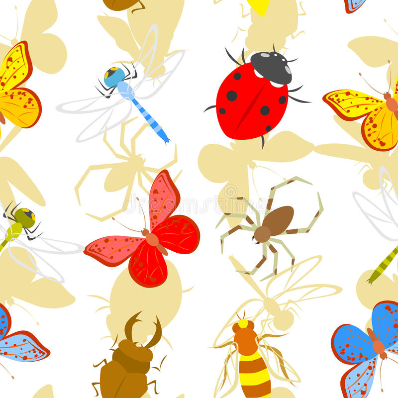 Insects. Vector seamless pattern of insects royalty free illustration