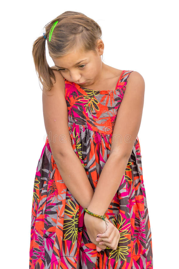 Insecure child ashamed stock photos