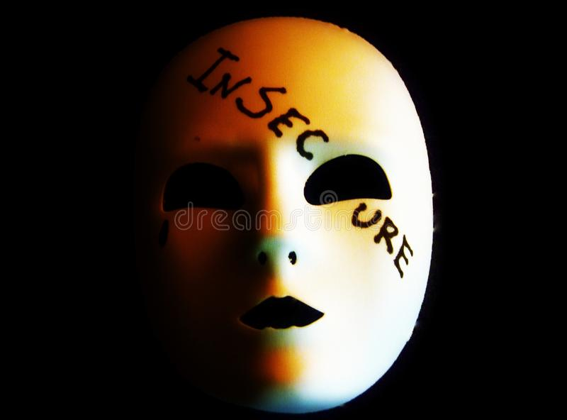 Insecure. A Mask is Written Insecure stock image