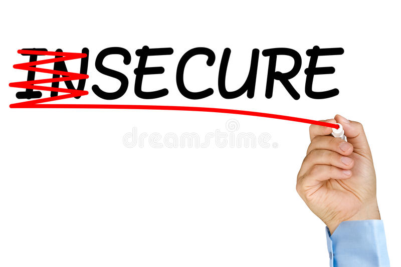 Insecure turns into secure. Businessman hands with marker crossing out and insecure becomes secure on clear glass whiteboard isolated stock image