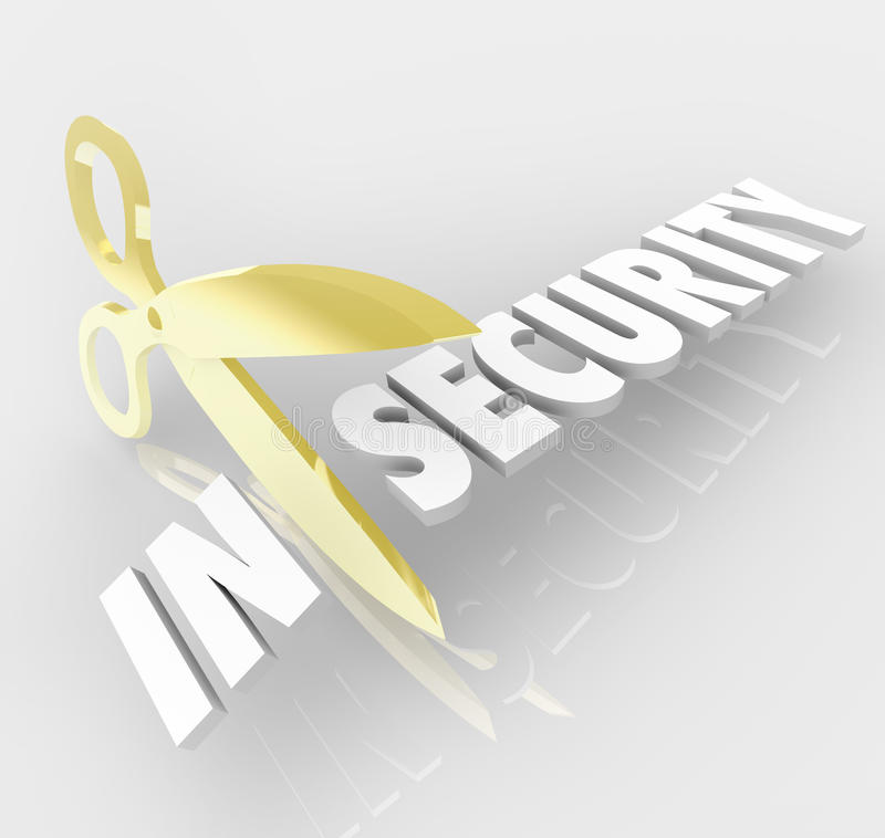 Free Insecurity Word Scissors Cutting Secure Safety Protection Royalty Free Stock Images - 40664919