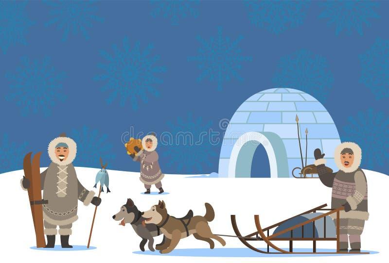 Insediamento delle popolazioni artiche, villaggio di Igloo e Inuits illustrazione vettoriale
