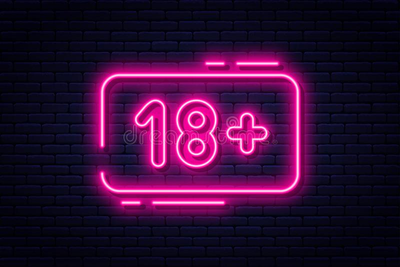 Insegna al neon, adulti soltanto, 18 più, sesso e xxx Contenuto limitato, video insegna erotica di concetto, tabellone per le aff illustrazione vettoriale
