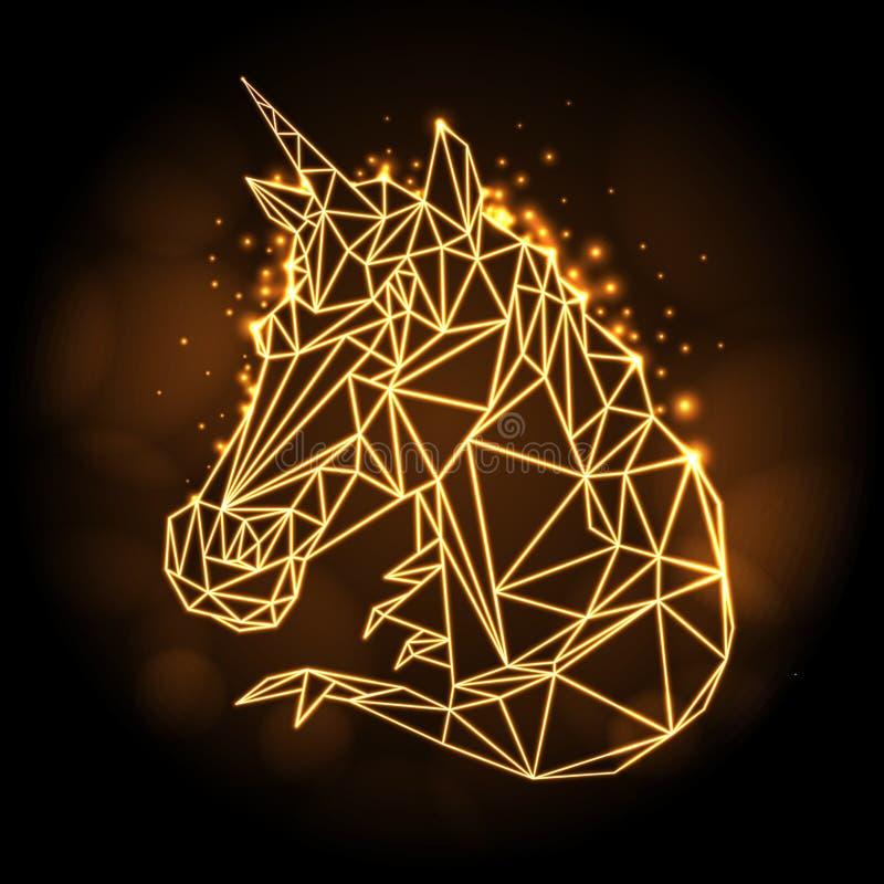 Insegna al neon animale dell'unicorno di fantasia poligonale astratta del tirangle Animale dei pantaloni a vita bassa royalty illustrazione gratis