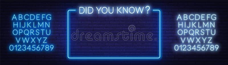 Insegna al neon avete saputo e la struttura sui precedenti del muro di mattoni Alfabeto al neon illustrazione vettoriale