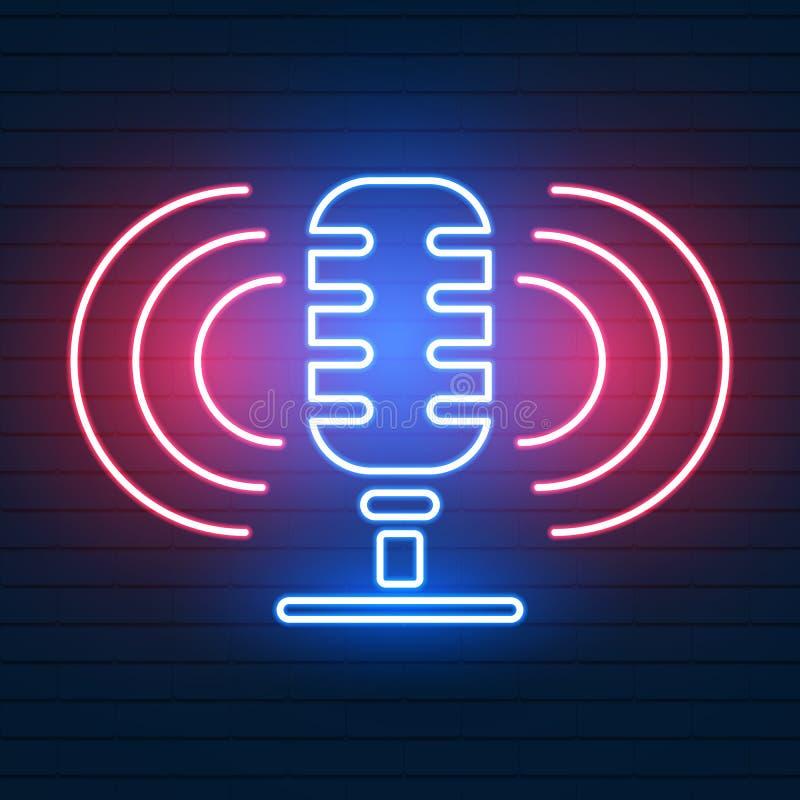 Insegna al neon con il microfono Night-club con l'icona di musica in diretta royalty illustrazione gratis