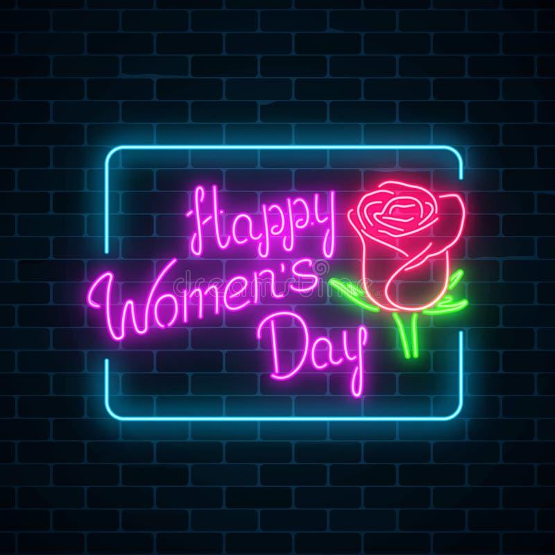 Insegna al neon d'ardore del giorno delle donne del mondo sul fondo scuro del muro di mattoni Cartolina d'auguri della primavera  illustrazione vettoriale