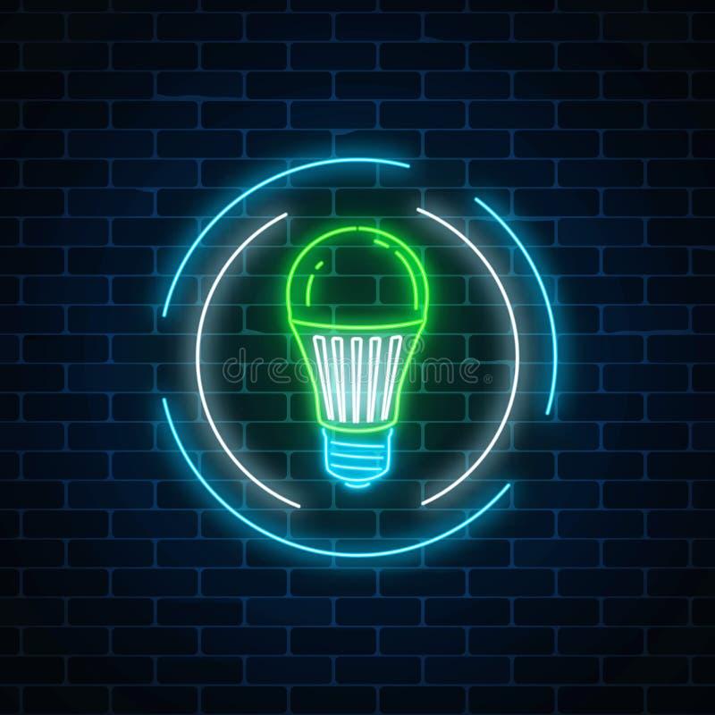 Insegna al neon d'ardore della lampadina principale verde nel telaio del cerchio sul fondo scuro del muro di mattoni Energia di E illustrazione vettoriale