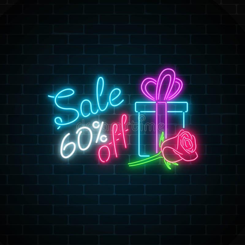 Insegna al neon d'ardore di grande vendita dell'8 marzo sul fondo scuro del muro di mattoni Segno di offerta speciale della festa royalty illustrazione gratis
