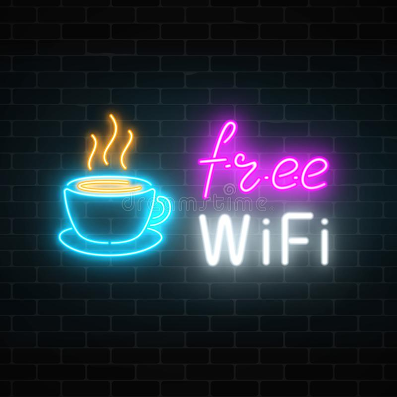 Insegna al neon del caffè con la zona libera di wifi Tazza di caffè calda e segno d'ardore dell'iscrizione di pubblicità illustrazione vettoriale