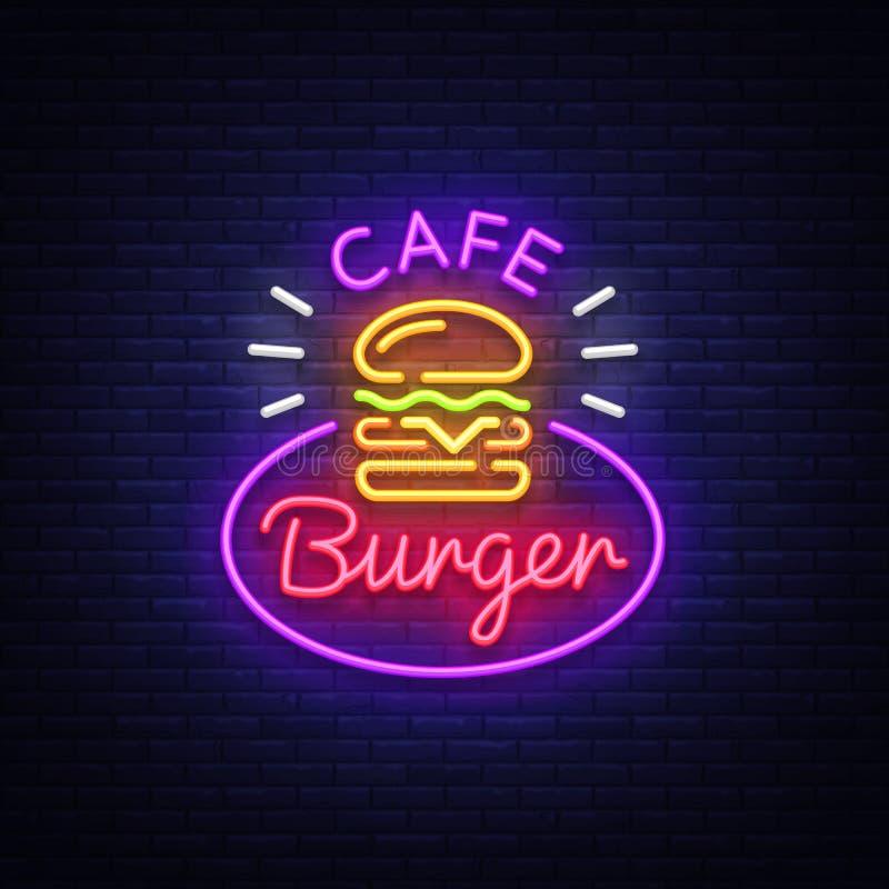 Insegna al neon del caffè dell'hamburger Logo al neon di stile del panino dell'hamburger di pasto rapido, insegna luminosa, model royalty illustrazione gratis