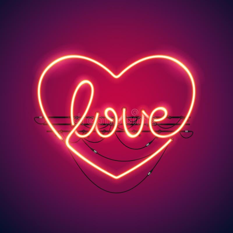 Insegna al neon del cuore di amore illustrazione di stock
