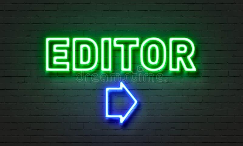 Insegna al neon del redattore sul fondo del muro di mattoni fotografia stock
