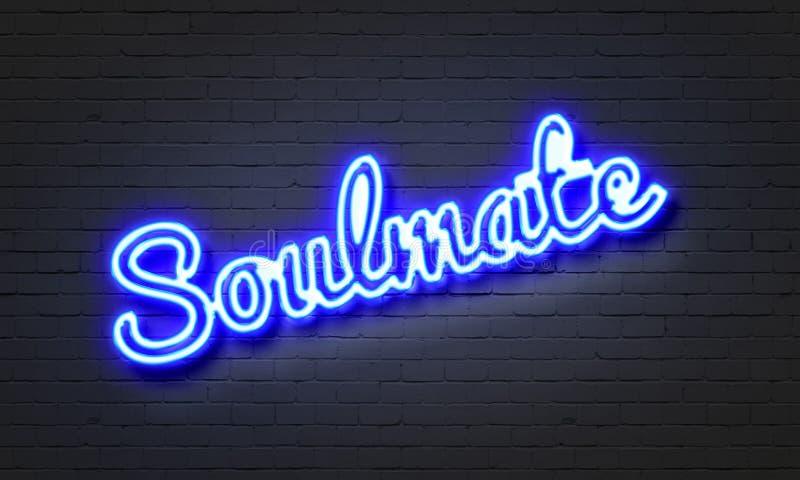 Insegna al neon del Soulmate sul fondo del muro di mattoni immagini stock libere da diritti