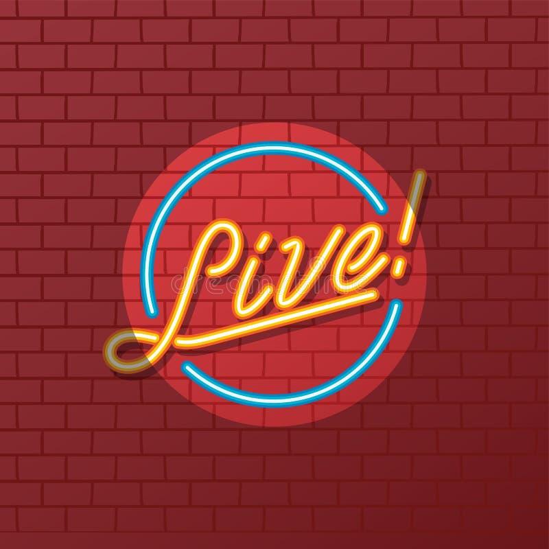 Insegna al neon del tubo dello spettacolo dal vivo royalty illustrazione gratis