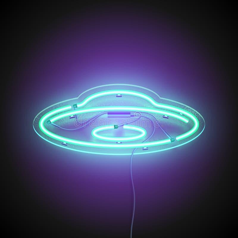 Insegna al neon del UFO royalty illustrazione gratis