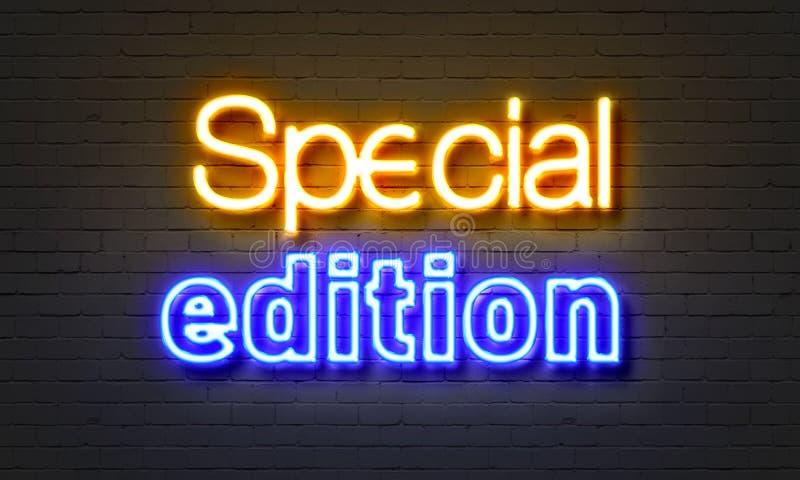Insegna al neon dell'edizione speciale sul fondo del muro di mattoni royalty illustrazione gratis