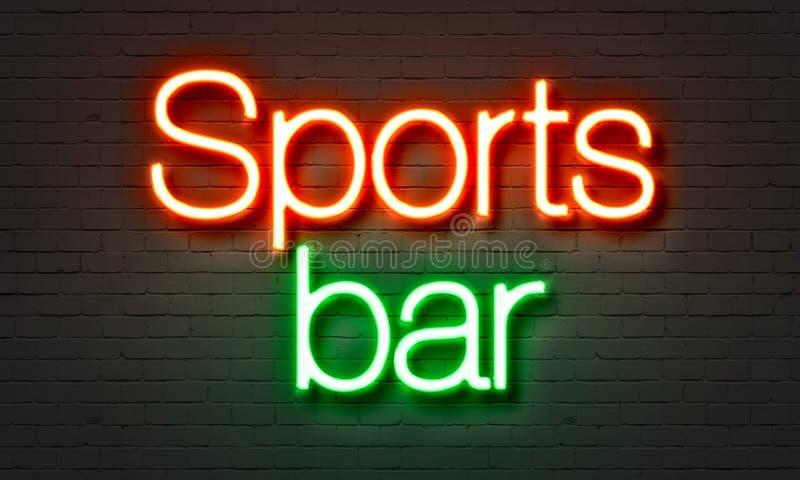Insegna al neon della barra di sport sul fondo del muro di mattoni immagine stock libera da diritti
