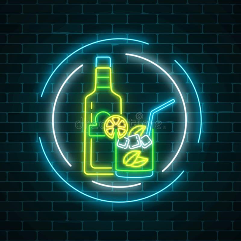 Insegna al neon della barra di tequila con la bottiglia e della bevanda in vetro nei telai del cerchio Emblema messicano del pub  royalty illustrazione gratis