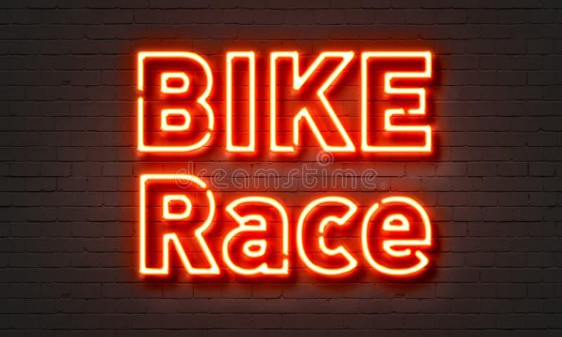 Insegna al neon della corsa della bici royalty illustrazione gratis