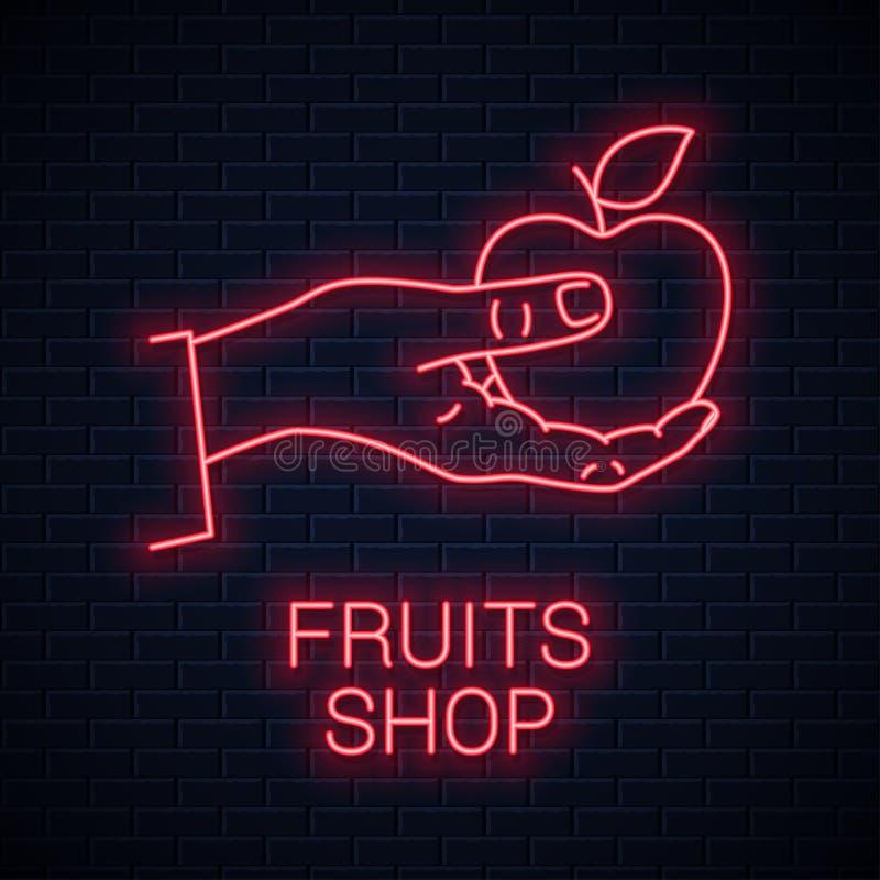 Insegna al neon della mela della tenuta della mano Mela rossa di tenuta maschio illustrazione di stock