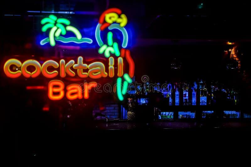 Insegna al neon di Antivari del cocktail fotografie stock libere da diritti