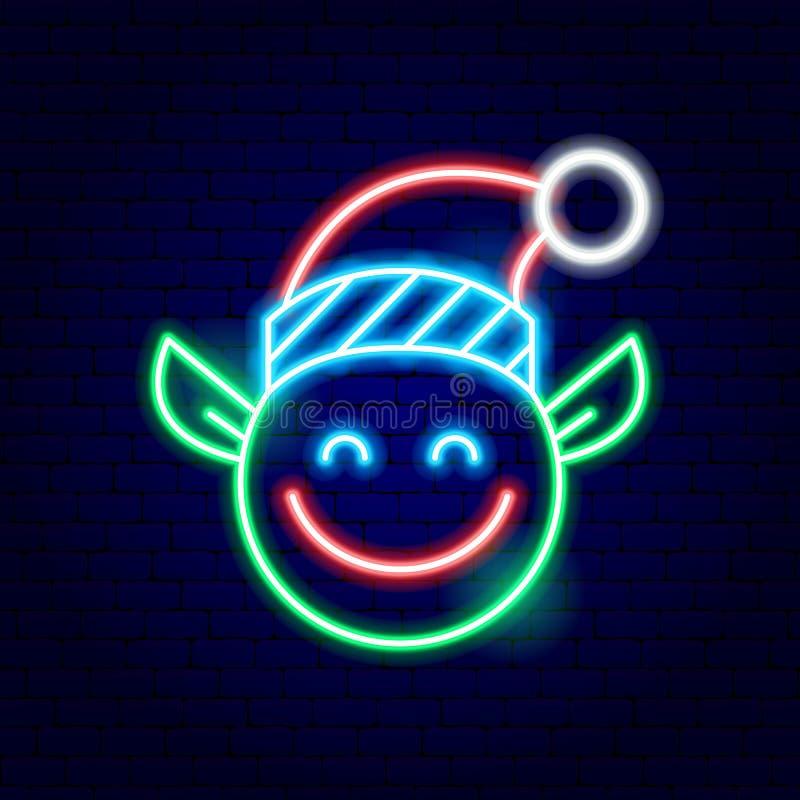 Insegna al neon di Elf di Natale illustrazione di stock