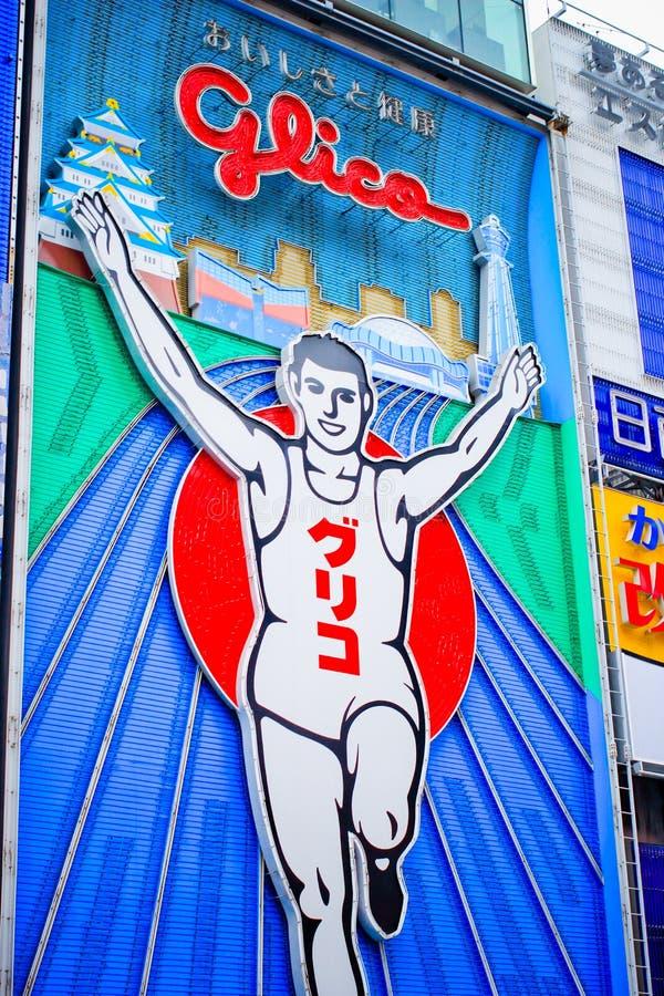 Insegna al neon di logo di Glico alla galleria di acquisto di Shinsaibashi fotografia stock