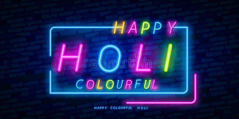 Insegna al neon felice di Holi Tema Holi dell'insegna di web, logo, emblema ed etichetta Insegna al neon, insegna luminosa, inseg illustrazione di stock