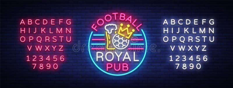 Insegna al neon reale del pub di calcio Logo di Antivari di sport del modello di progettazione nello stile al neon, insegna legge illustrazione di stock